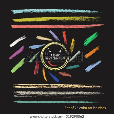 A set of 25 pastel brush strokes created with chalk and charcoal. Hand drawn illustration. - stock vector
