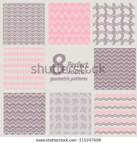 A set of 8 perfect seamless patterns. Vector background.