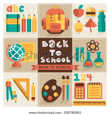 A set of pictures on the school theme. Flat design, vector. - stock vector