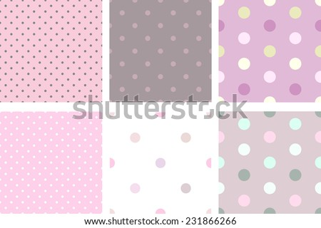 A set of pink pale vintage seamless texture with small circles - stock vector