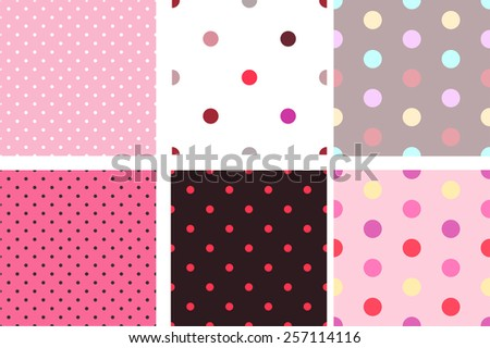 A set of pink seamless texture with small circles - stock vector