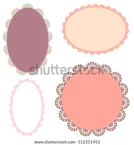 Set Pink Vintage Oval Patterned Lace Stock Vector 512351452 ...