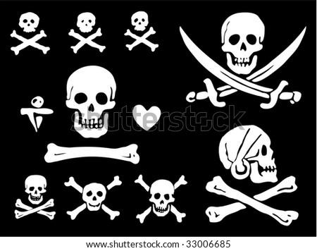 A set of pirate flags, skulls and bones - stock vector