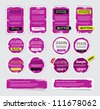 A set of purple vector grungy paper stickers, labels, tags and banners with hand painted / cracked paint worn out  backgrounds - stock photo