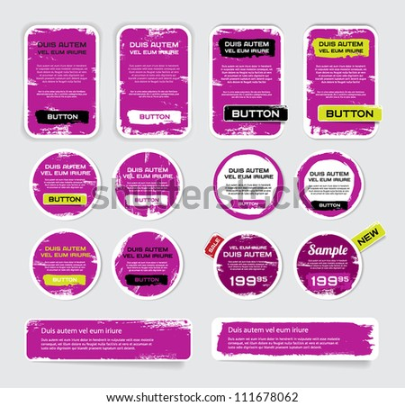 A set of purple vector grungy paper stickers, labels, tags and banners with hand painted / cracked paint worn out  backgrounds - stock vector