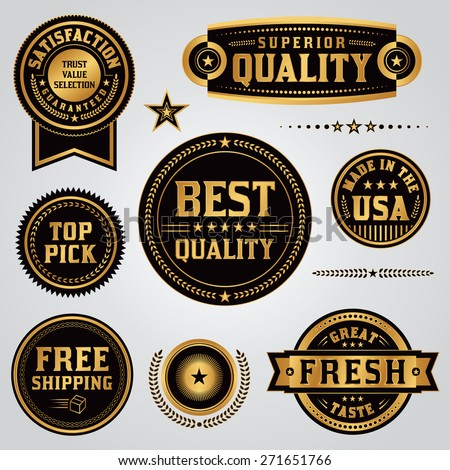 A set of quality, value, satisfaction guarantee, made in the USA, shipping, labels and badges illustrated in black and gold leaf. Vector EPS 10. - stock vector