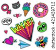 a set of quirky cartoon patch...