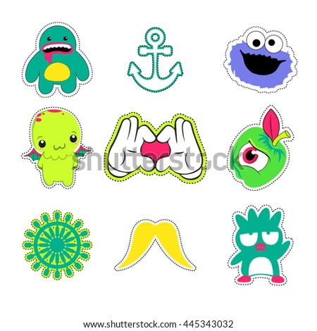 A set of quirky cartoon patch badges or fashion pin badges - stock vector