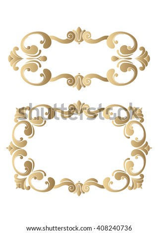 A set of rectangular frames in vintage style with a golden hue. Decorative element for design of books, printed materials, invitation for a wedding or a celebration, for albums. - stock vector