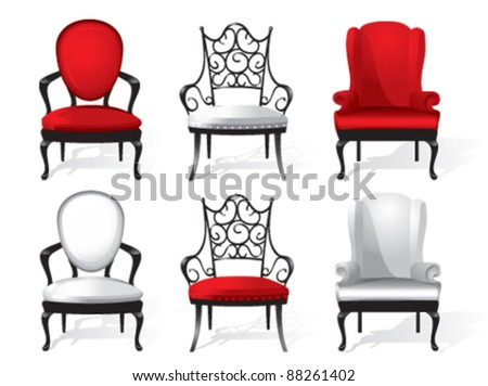 a set of red and white armchairs - stock vector