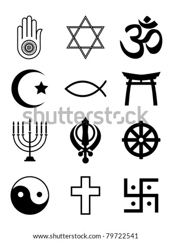 A set of Religious symbols. Black silhouettes isolated on white. EPS10 vector format. - stock vector