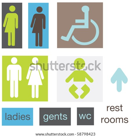 a set of restroom signs