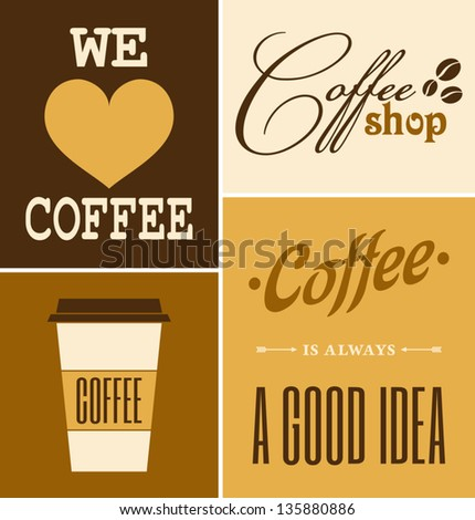 A set of retro design coffee posters. - stock vector