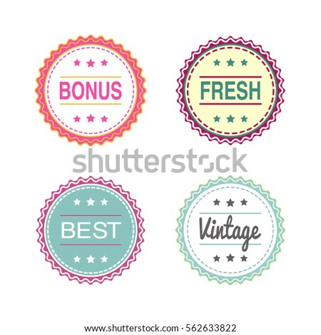 A set of round tags and labels bonus fresh best vintage stickers