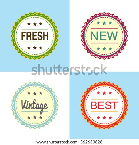 A set of round tags and labels fresh new vintage best stickers
