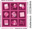 A set of school supplies for girls pink - stock vector