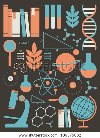 A set of science and education symbols in orange and blue. - stock vector