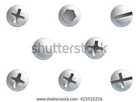 A set of screw, nuts,  bolt and rivet head design elements