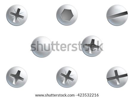 A set of screw, nuts,  bolt and rivet head design elements - stock vector