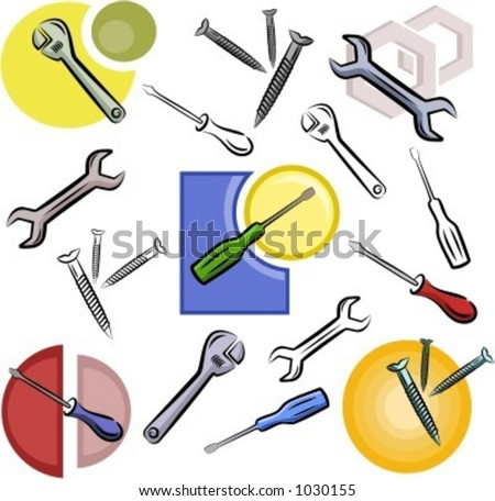 A set of screwdriver, wrench, nail and nut vector icons in color, and black and white renderings. - stock vector