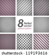 A set of 8 seamless geometric patterns. Vector backgrounds. - stock vector