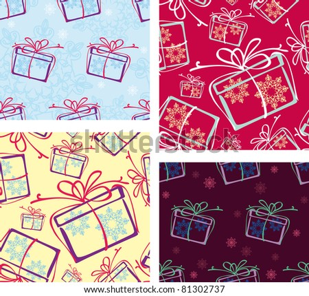 a set of seamless patterns. Christmas gifts. options