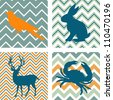A set of 4 seamless retro patterns and 4 silhouettes of animals. Could be used as wall art. - stock photo