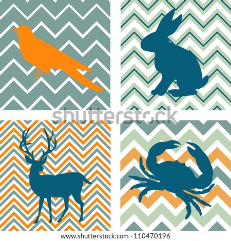A set of 4 seamless retro patterns and 4 silhouettes of animals. Could be used as wall art. - stock vector