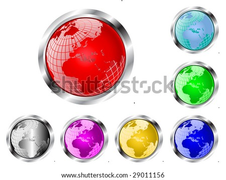 A set of seven vector wire mesh earth globe web  buttons isolated on white