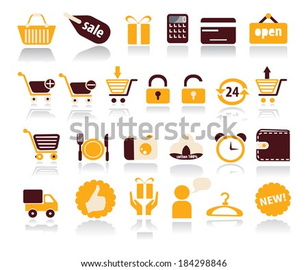 A set of 25 Shopping related icons. Shopping icons set with reflection shadows - stock vector