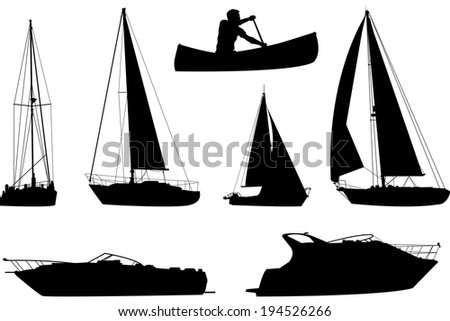 A set of silhouettes of a variety of boats. - stock vector