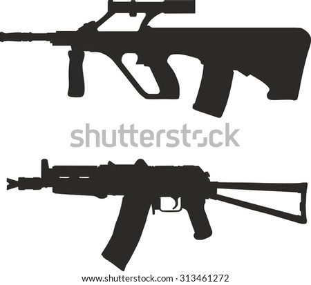 A set of silhouettes of modern weapons.
