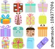 A set of simple and cute vector Icons : Gift Boxes (present), pastel colors on white background - stock photo