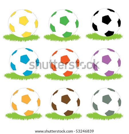 A set of simple coloured soccer ball icons on patches of grass - stock vector