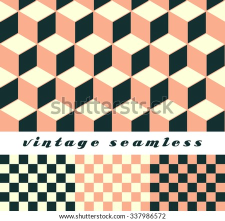 A set of simple cubic and check-board seamless tiles, coordinated patterns, in an optical illusion style skin tone palette.  - stock vector