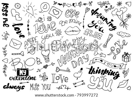 A Set Of Simple Drawings In Doodle Style For Valentines Day Collection Elements