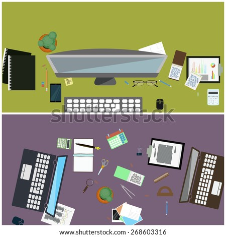 A set of simple flat illustrations as desktop wallpaper for design, web banners, advertising materials.