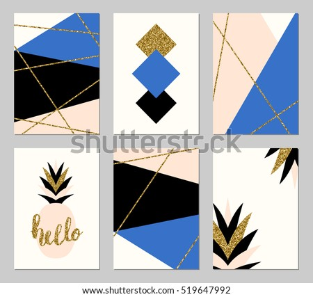 A set of six abstract geometric designs in gold glitter, blue, black, cream and pastel pink. Modern and original greeting card, invitation, poster design templates.