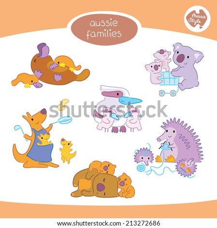 A set of six cute Australian animal families, in various poses, including kangaroo, koala, wombat, platypus, kookaburra and echidna. - stock vector