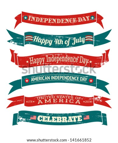A set of six grungy US Independence Day banners isolated on white background. - stock vector