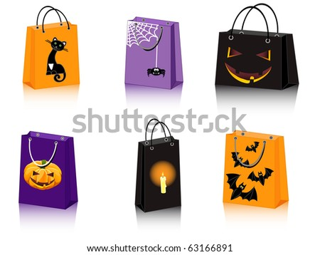 a set of six Halloween shopping bags - stock vector