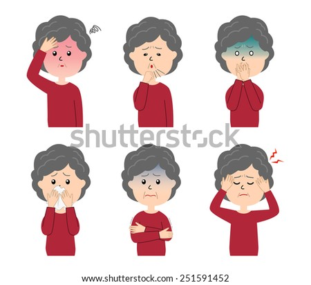A set of six pose variations of sick elderly woman, vector illustration - stock vector