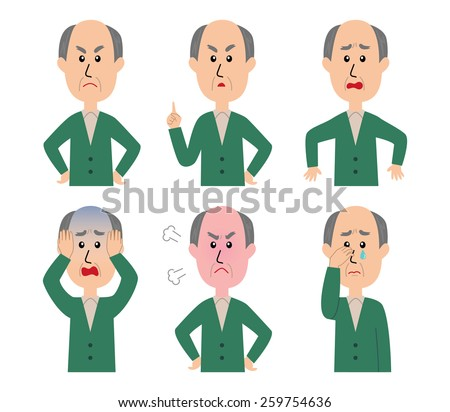 A set of six pose variations of unhappy old man, vector illustration - stock vector