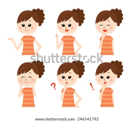 A set of six pose variations of young happy woman, vector illustration - stock vector