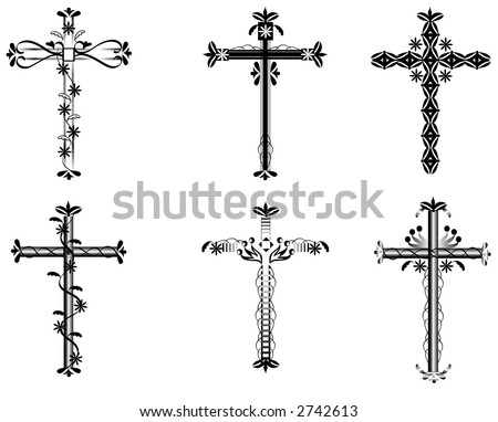 A set of six vector crosses with swirls,flowers,hearts and more.Black over a white background.