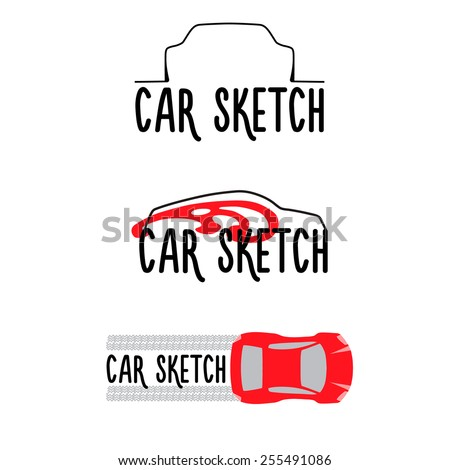 A set of sketches of silhouettes of cars from different viewpoints. Editable vector illustration. - stock vector