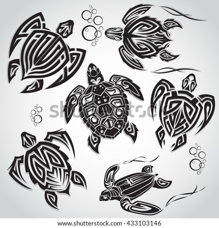A set of sketches of tribal turtle - stock vector