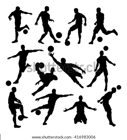 A set of Soccer Player Silhouettes in lots of different poses - stock vector