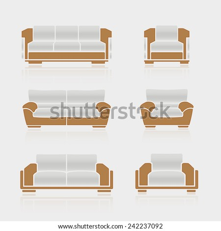A set of sofas and armchairs on a white background. Vector - stock vector