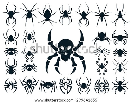 A Set Of Spider Shapes In Different Styles: Natural, Cute Cartoon, Spider  Skull